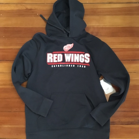 huge discount ea7b3 ff137 NWT Detroit Red Wings Grey Hooded Sweatshirt Med NWT